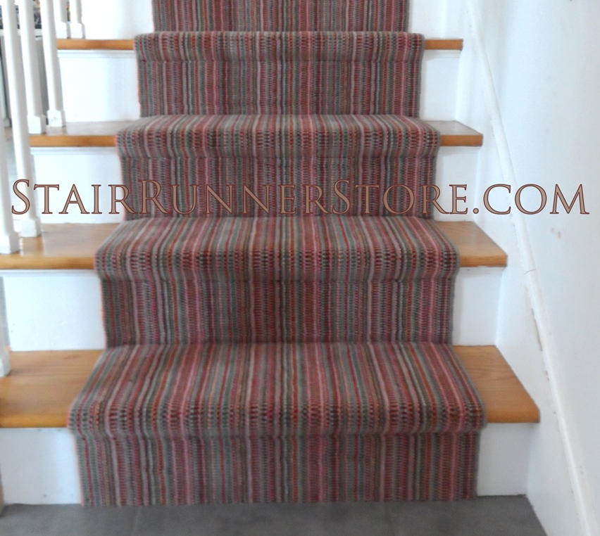 Elegant Stripe Stair Runner Installation 3348 Small
