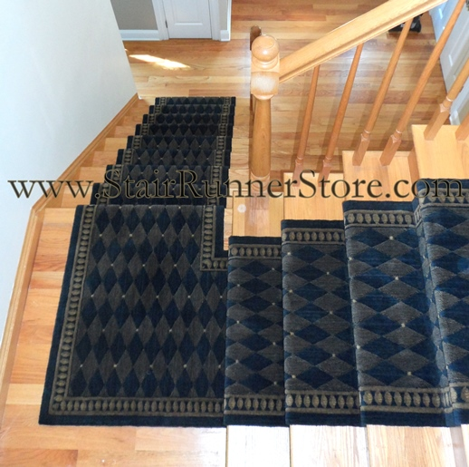 Contemporary Stair Runner Store: Roll Runner C94R Nourison Marquis Stair Runner Midnight 30