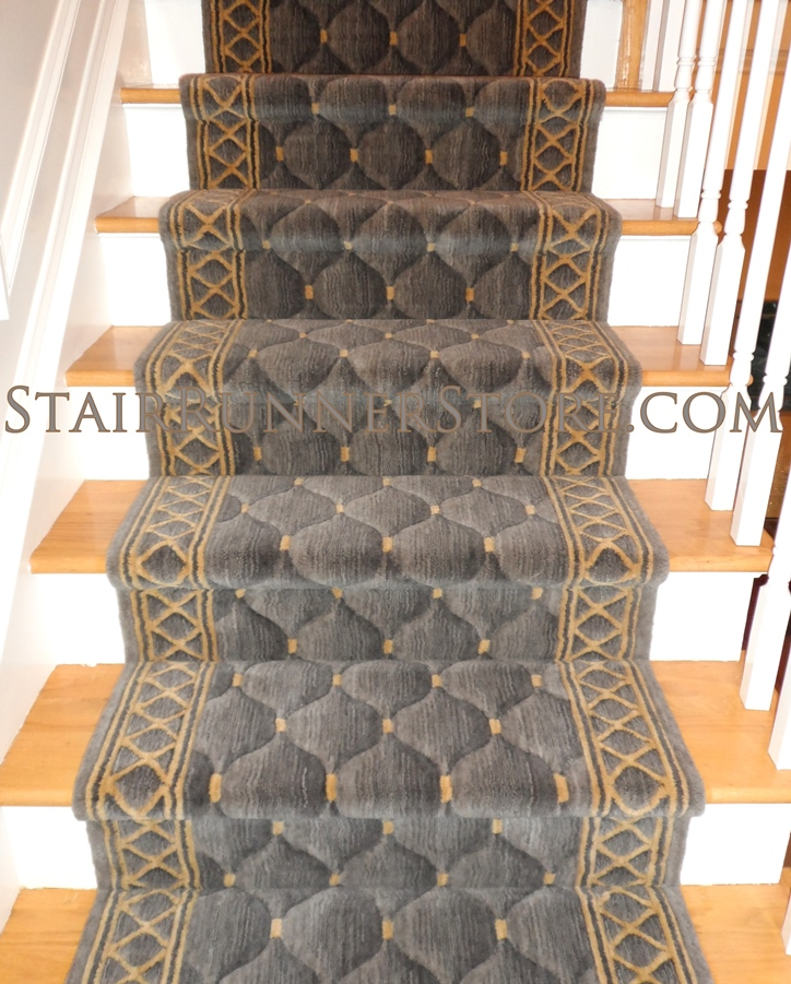 "Replacing Carpet With A Stair Runner: Nourison Shadolure Stair Runner Platinum 36"" C26R Carpet"