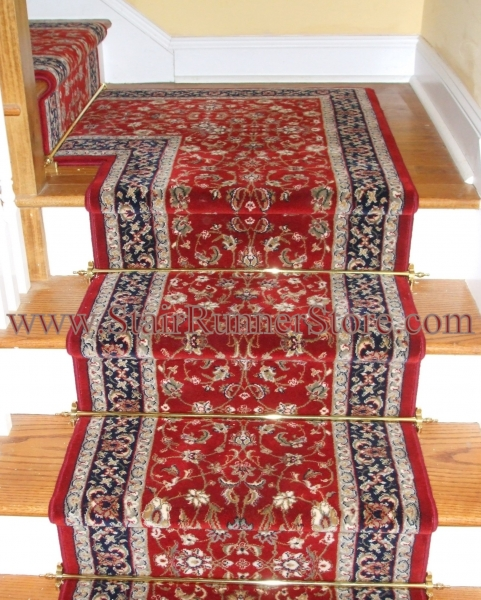 Stair Runner Decorative Hardware And Mitered Landing1