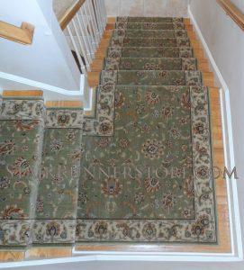 Persian Jewel Emerald Stair Runner Landing Installation