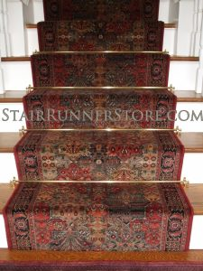 Imperial Baktiari stair-runner with brass stair rods